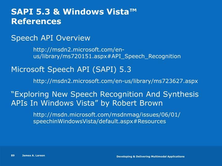 SAPI 5.3 & Windows Vista™
