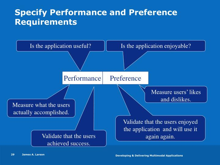 Specify Performance and Preference Requirements