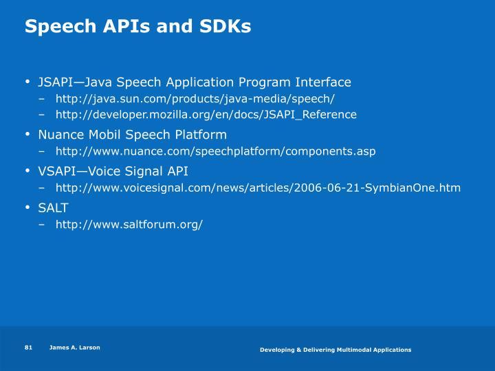 Speech APIs and SDKs