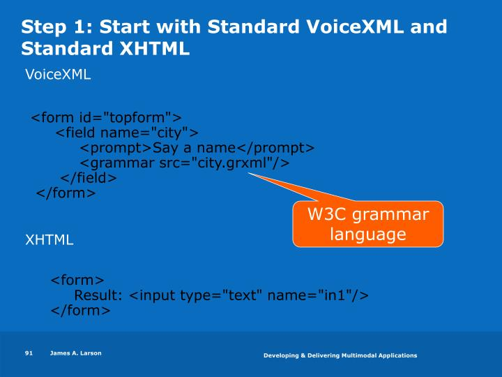 Step 1: Start with Standard VoiceXML and Standard XHTML
