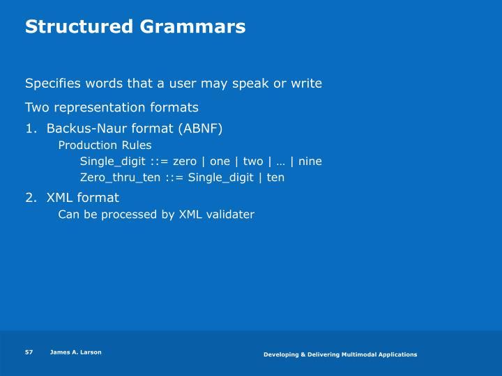Structured Grammars