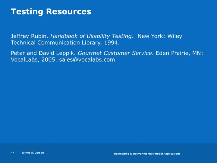 Testing Resources
