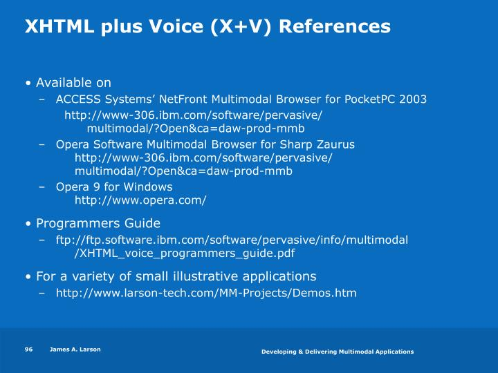 XHTML plus Voice (X+V) References