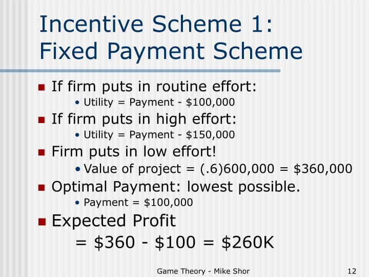 Incentive Scheme 1:          Fixed Payment Scheme