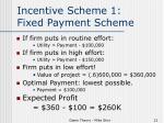 incentive scheme 1 fixed payment scheme