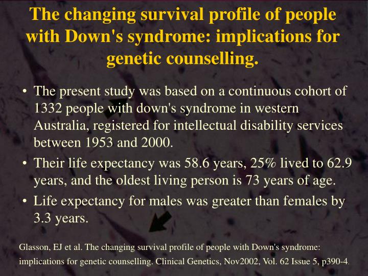 The changing survival profile of people with Down's syndrome: implications for genetic counselling.