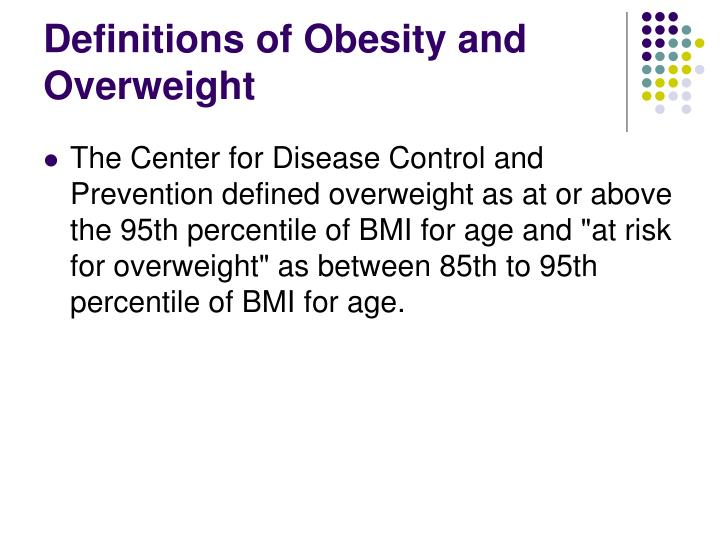 Definitions of Obesity and Overweight