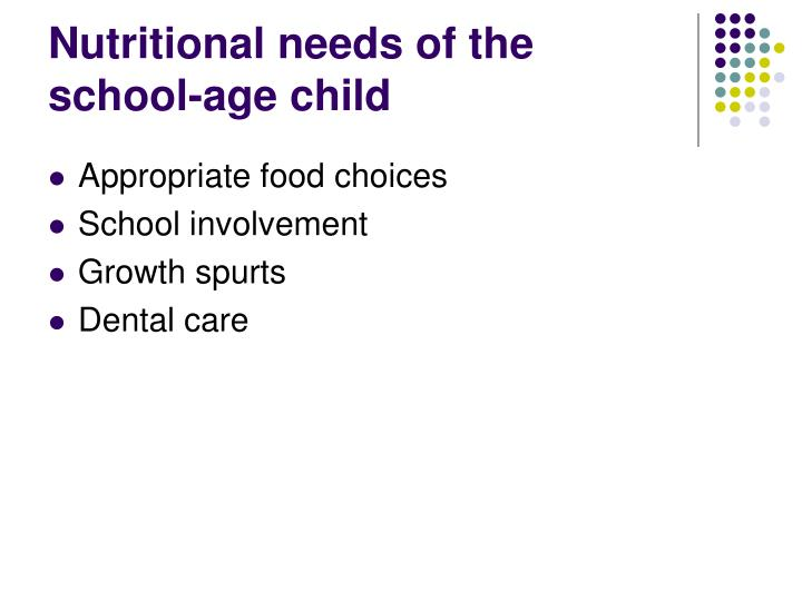 Nutritional needs of the school-age child