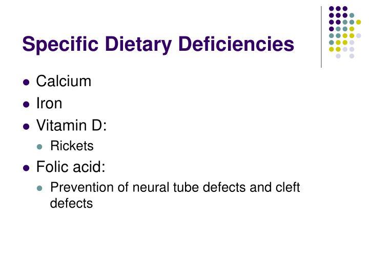 Specific Dietary Deficiencies