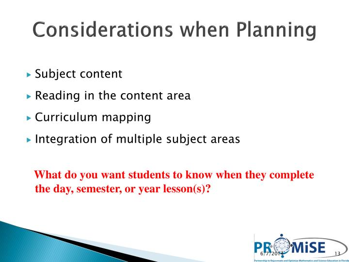Considerations when Planning