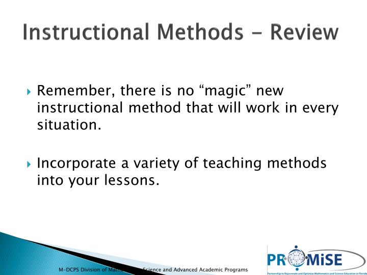 Instructional Methods - Review
