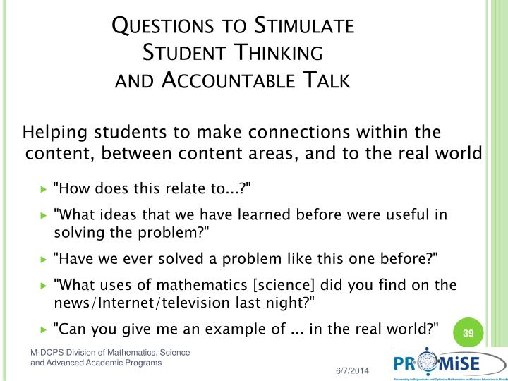 Questions to Stimulate
