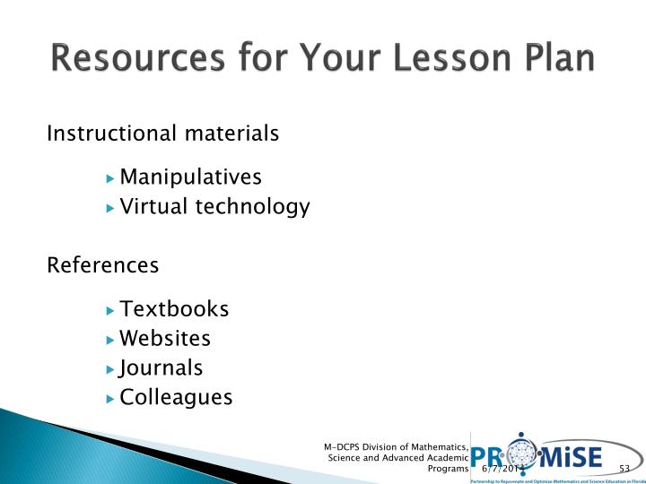 Resources for Your Lesson Plan