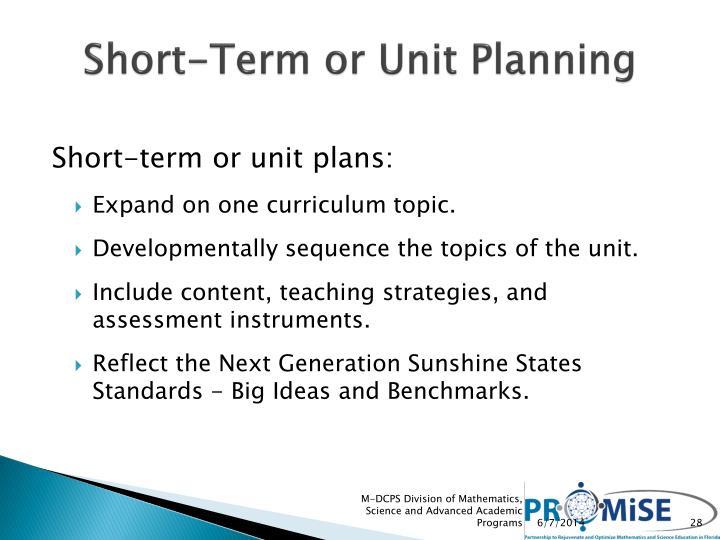 Short-Term or Unit Planning
