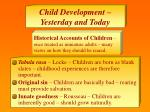 child development yesterday and today