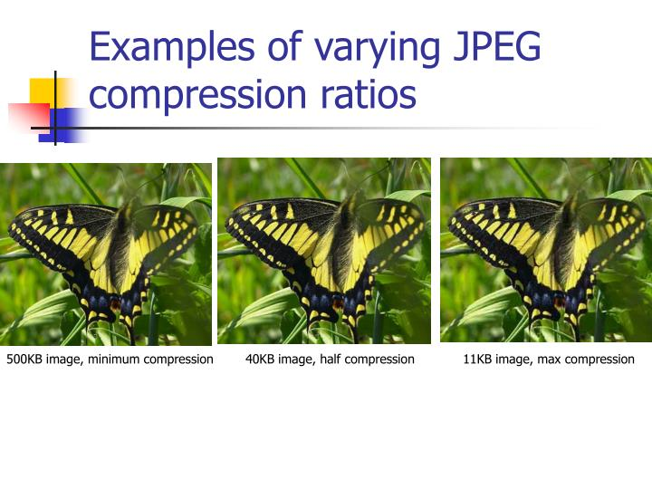 Examples of varying JPEG compression ratios