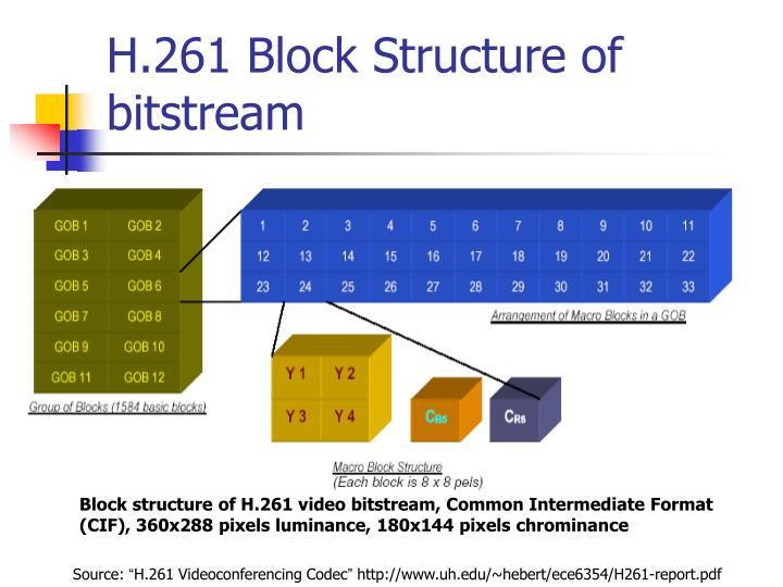 H.261 Block Structure of bitstream