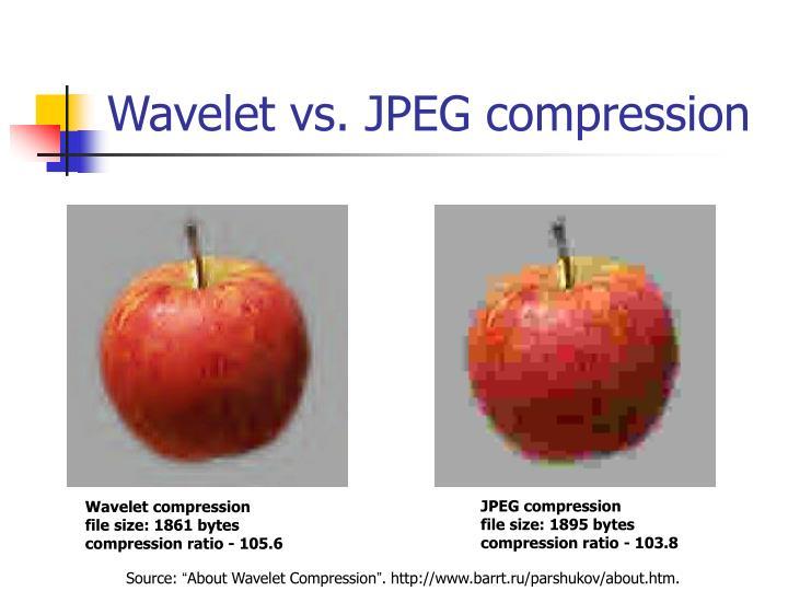 Wavelet vs. JPEG compression
