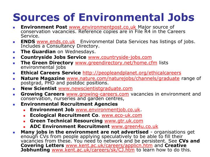 Sources of Environmental Jobs