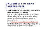 university of kent careers fair