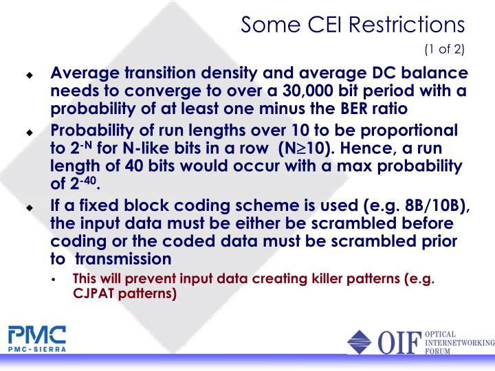 Some CEI Restrictions