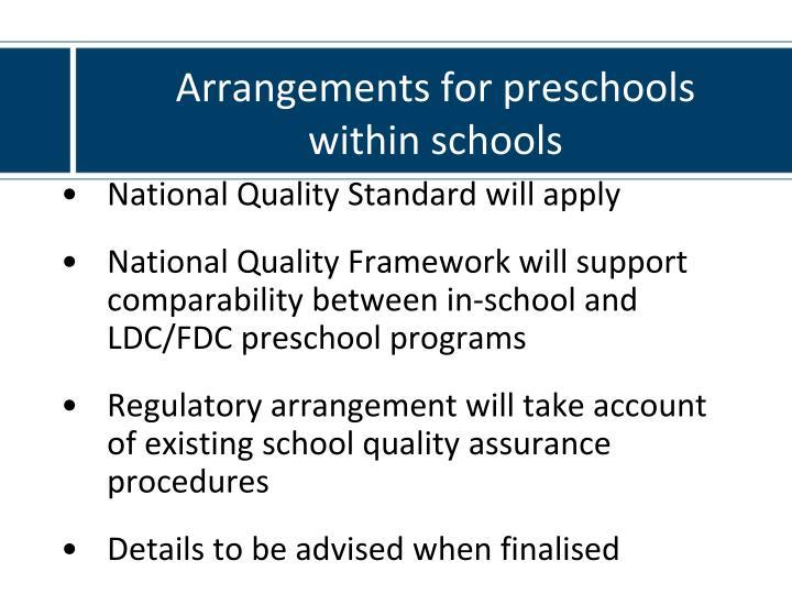 Arrangements for preschools
