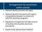 arrangements for preschools within schools