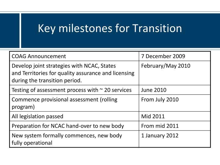 Key milestones for Transition