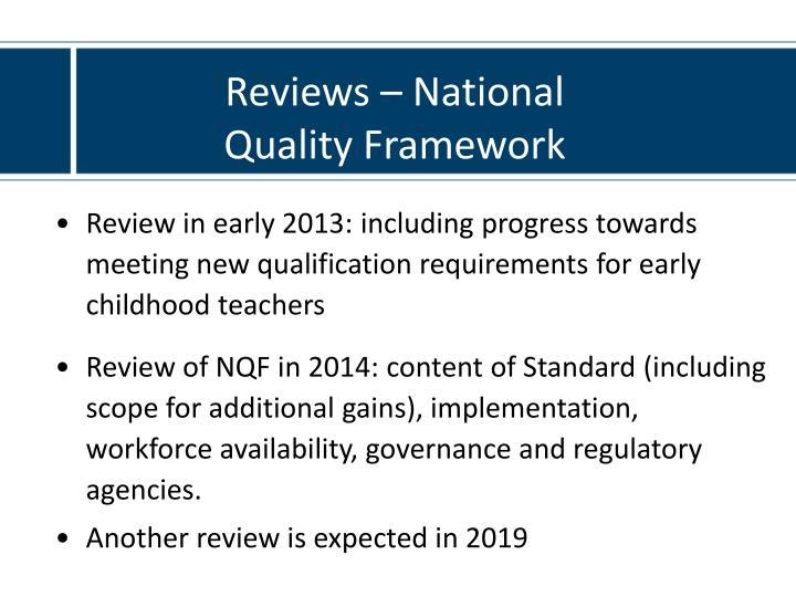 Reviews – National Quality Framework