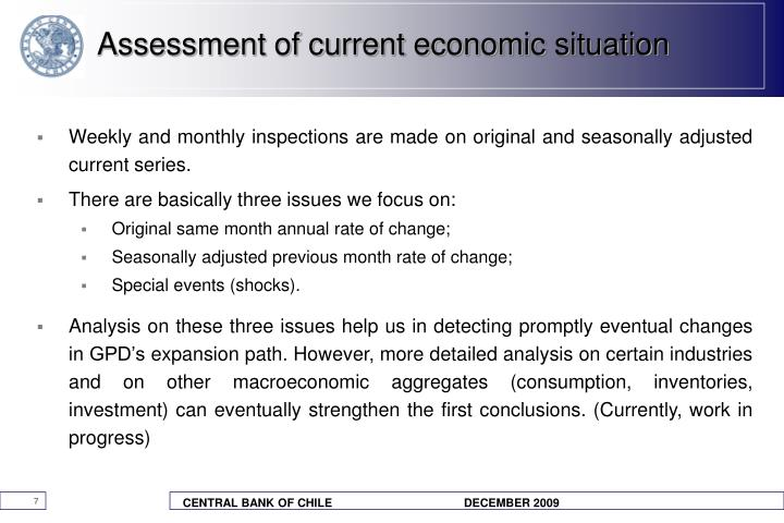 Assessment of current economic situation
