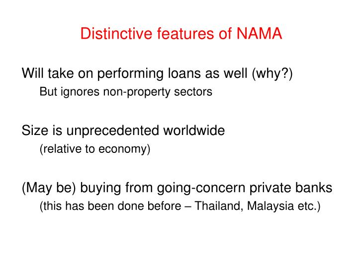 Distinctive features of NAMA