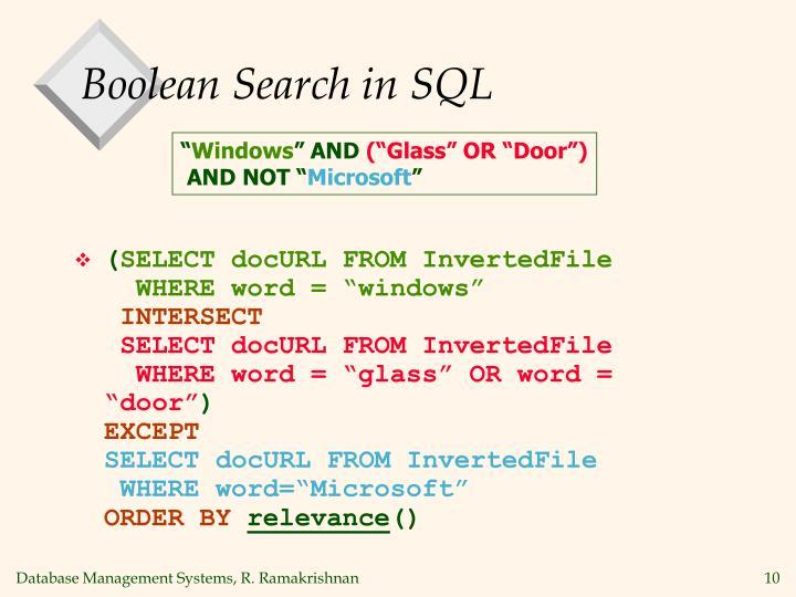 Boolean Search in SQL