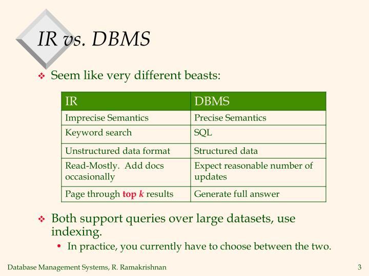 IR vs. DBMS