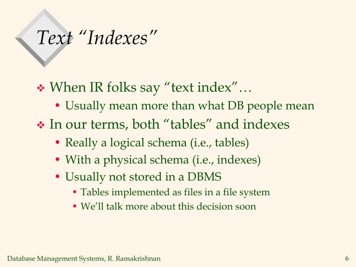 """Text """"Indexes"""""""