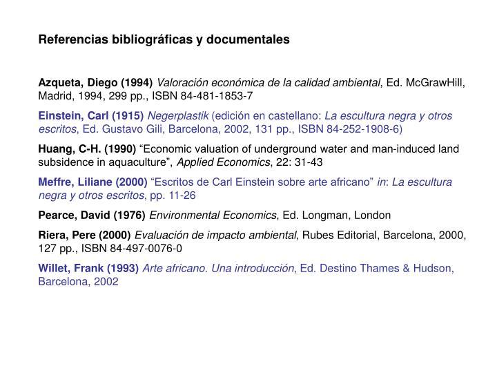 Referencias bibliográficas y documentales