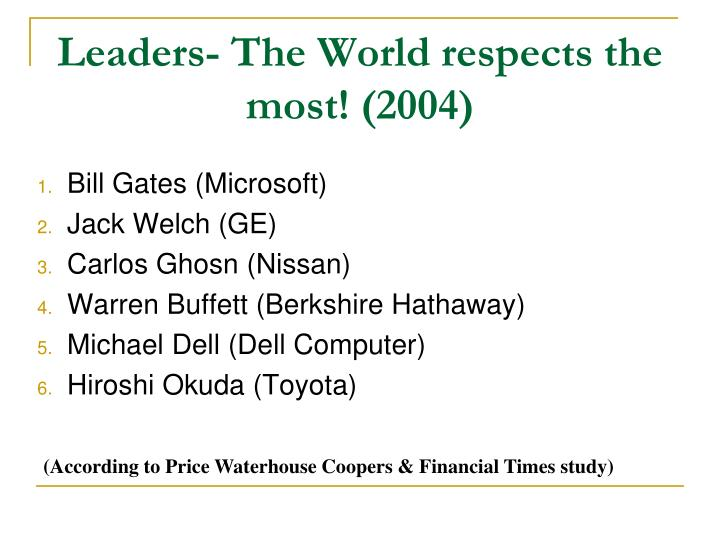 Leaders- The World respects the most! (2004)