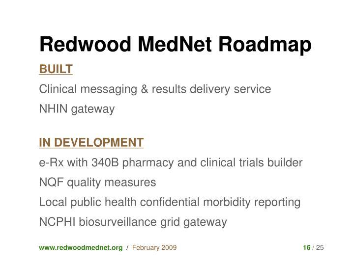 Redwood MedNet Roadmap
