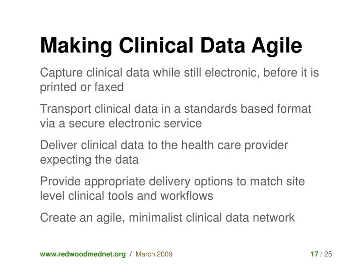 Making Clinical Data Agile