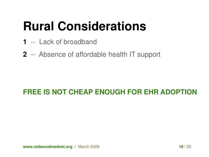 Rural Considerations
