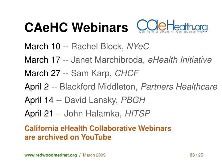 CAeHC Webinars