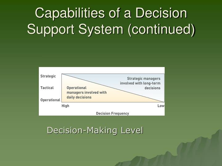 Capabilities of a Decision Support System (continued)