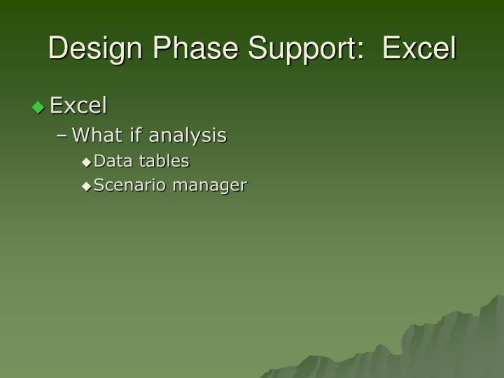 Design Phase Support:  Excel