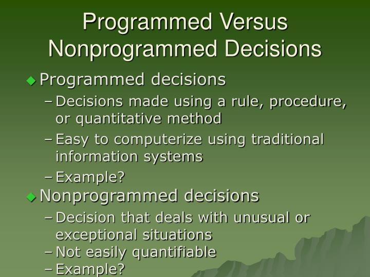 Programmed Versus Nonprogrammed Decisions