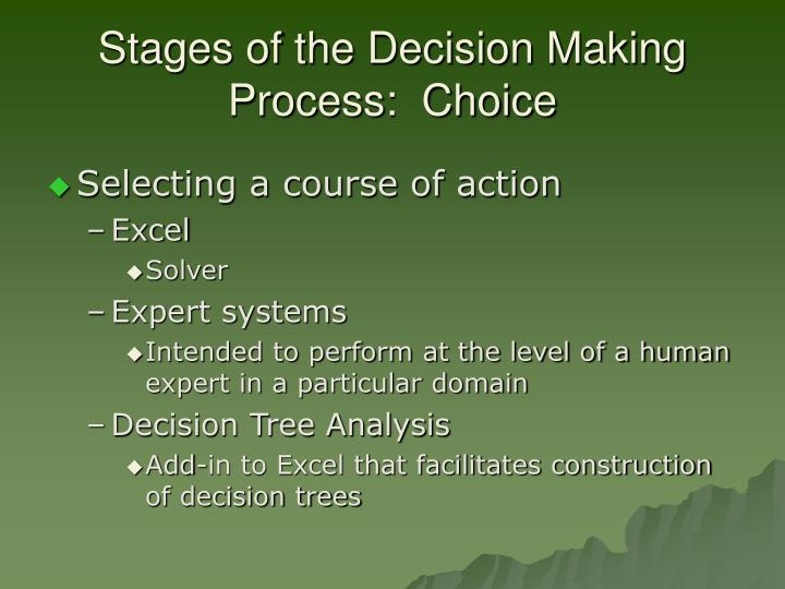 Stages of the Decision Making Process:  Choice