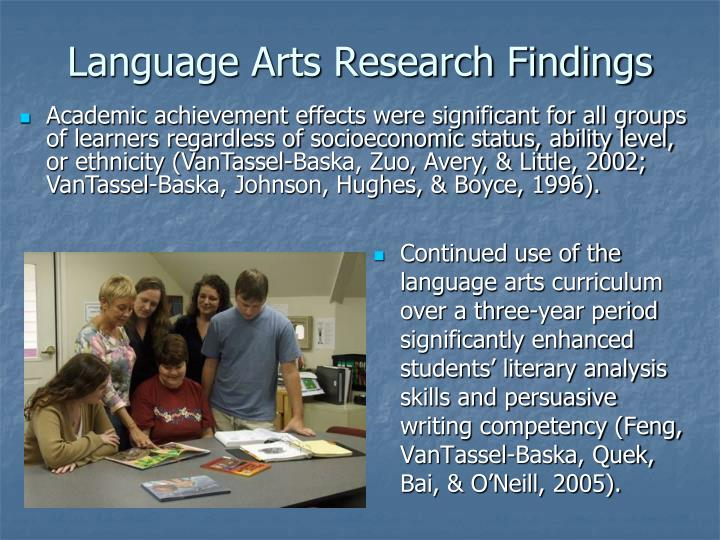 Language Arts Research Findings