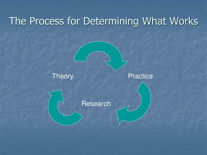 The process for determining what works