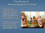 the research science research findings