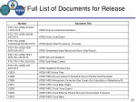 full list of documents for release1