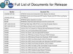 full list of documents for release5