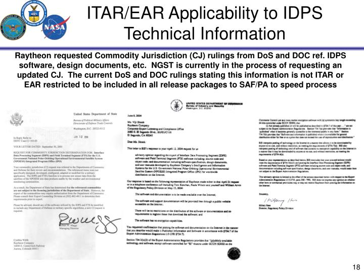 ITAR/EAR Applicability to IDPS Technical Information